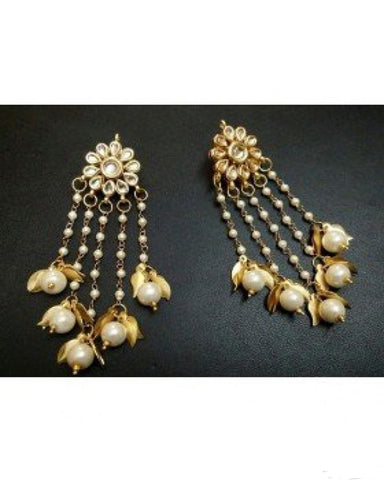 Kundan floral with pearl and golden leaf drop earrings