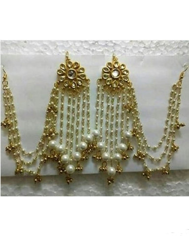 Kundan Floral Pearl Tassel Earrings With Air Attachment