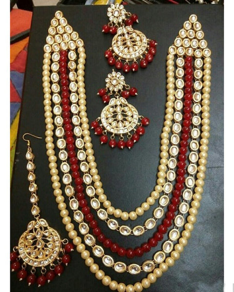 Artificial Kundan Layered Necklace, Earrings And Tikka Set (maroon)