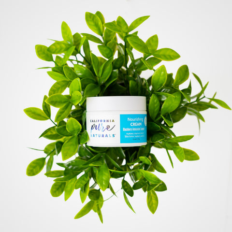 Nourishing Cream from California Pure Naturals, an organic facial moisturizer that's perfect for a dry skin care routine, shown in green foliage.