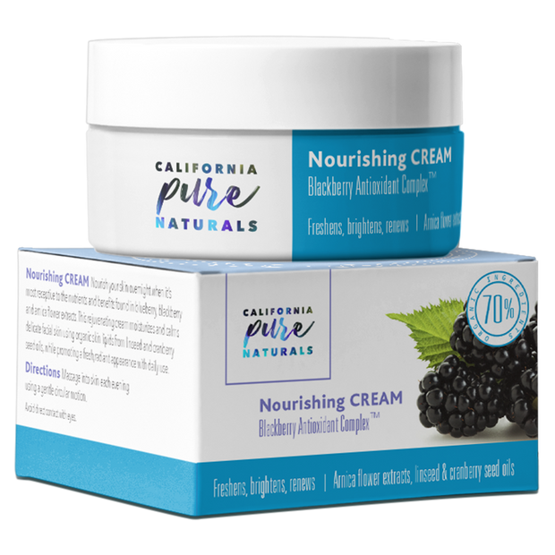 Nourishing Cream made with 70% organic, 100% vegan ingredients from California Pure Naturals.