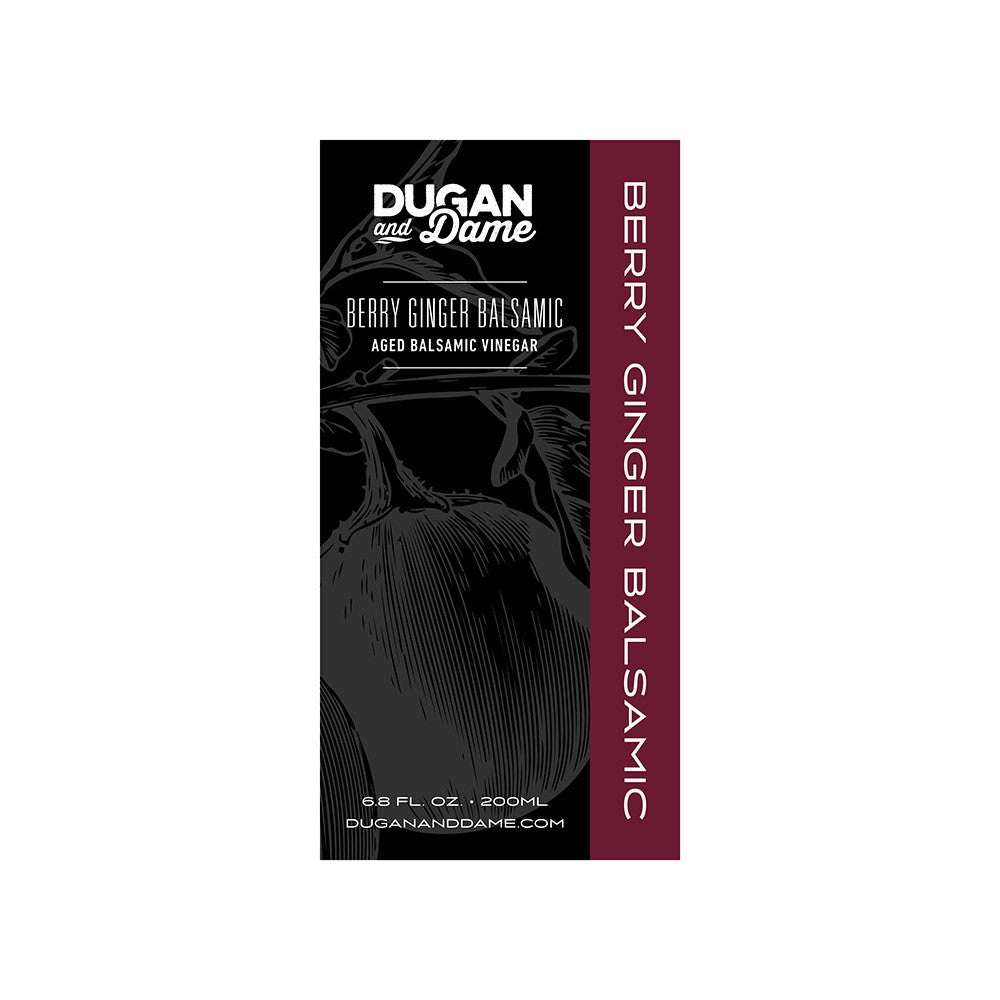Dugan and Dame Berry Ginger Balsamic Vinegar Label Front