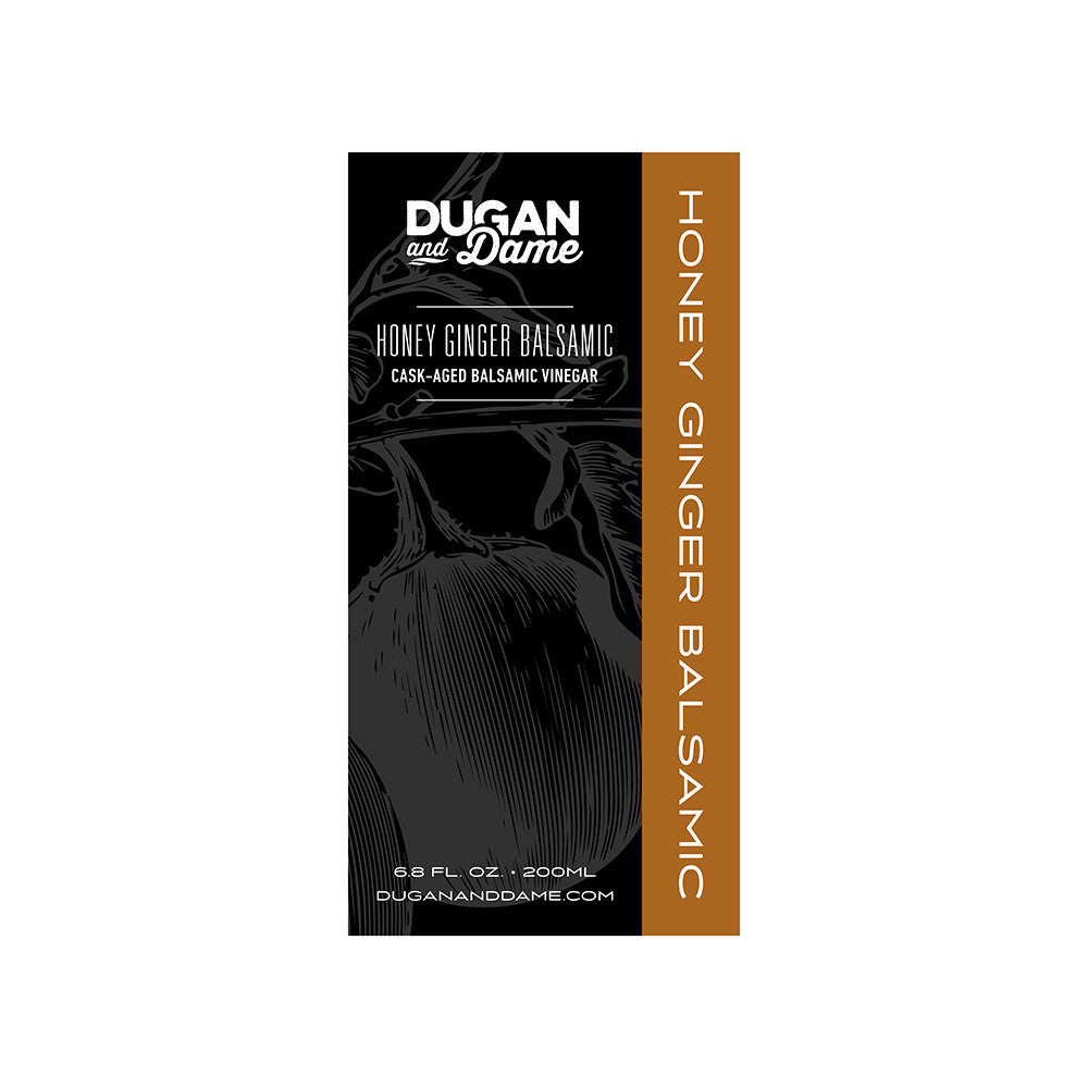 Dugan and Dame Honey Ginger Balsamic Vinegar Label Front