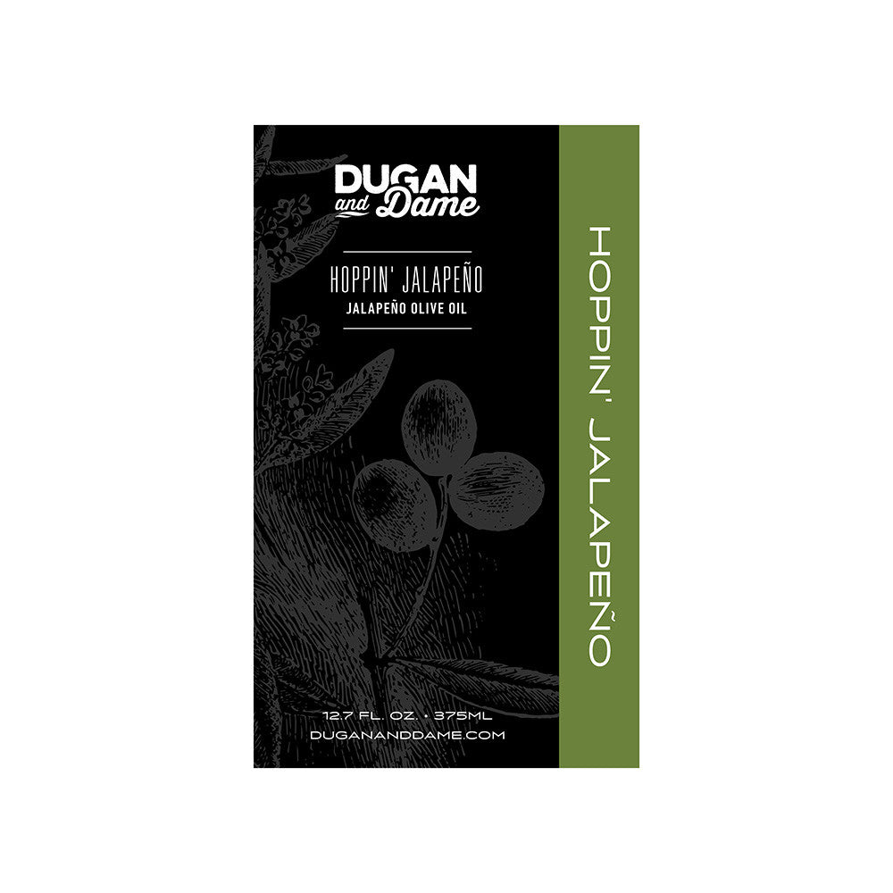 Dugan and Dame Hoppin' Jalapeño Olive Oil Label Front