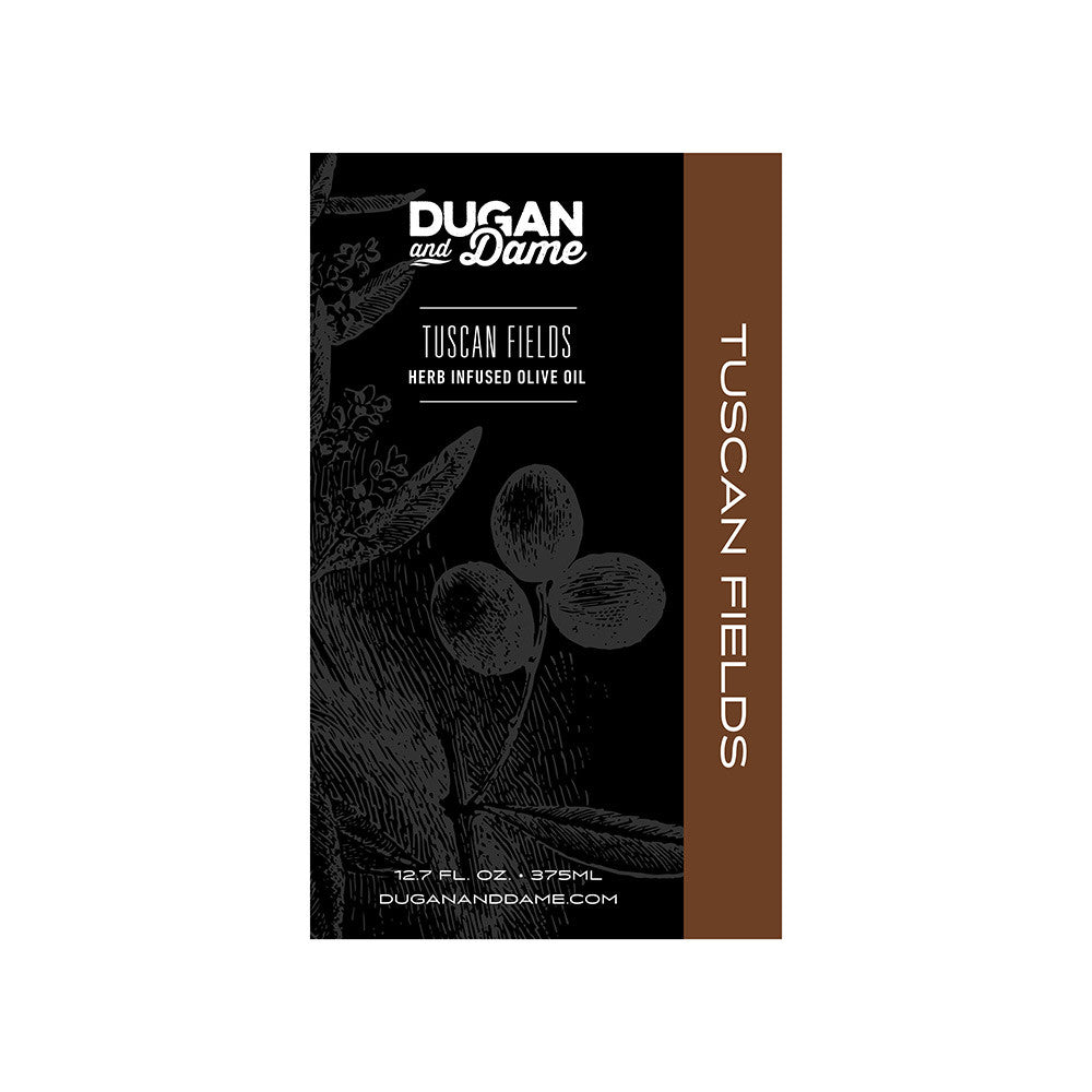 Dugan and Dame Tuscan Fields Herb Infused Olive Oil Label Front