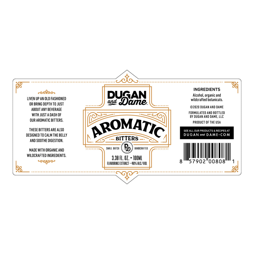 Dugan and Dame Aromatic Bitters Label