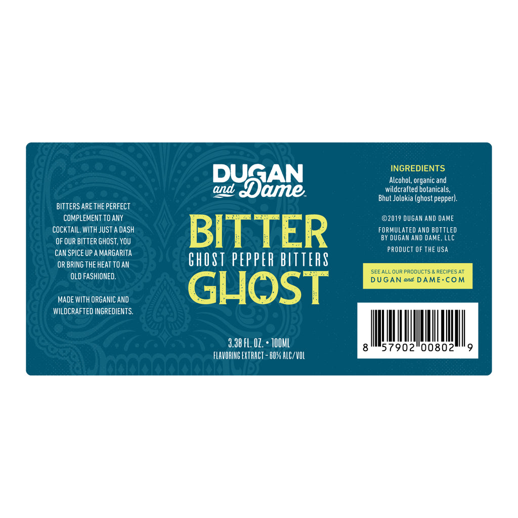 Dugan and Dame Bitter Ghost Ghost Pepper Bitters Label