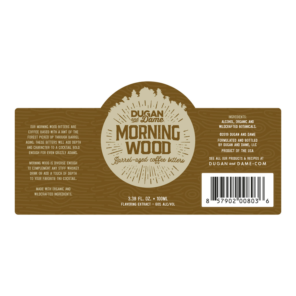 Dugan and Dame Morning Wood Cocktail Bitters Label