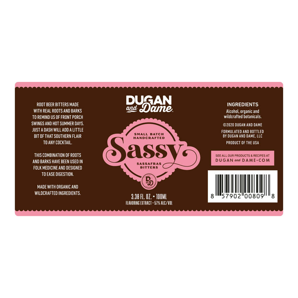 Dugan and Dame Sassy Cocktail Bitters Label