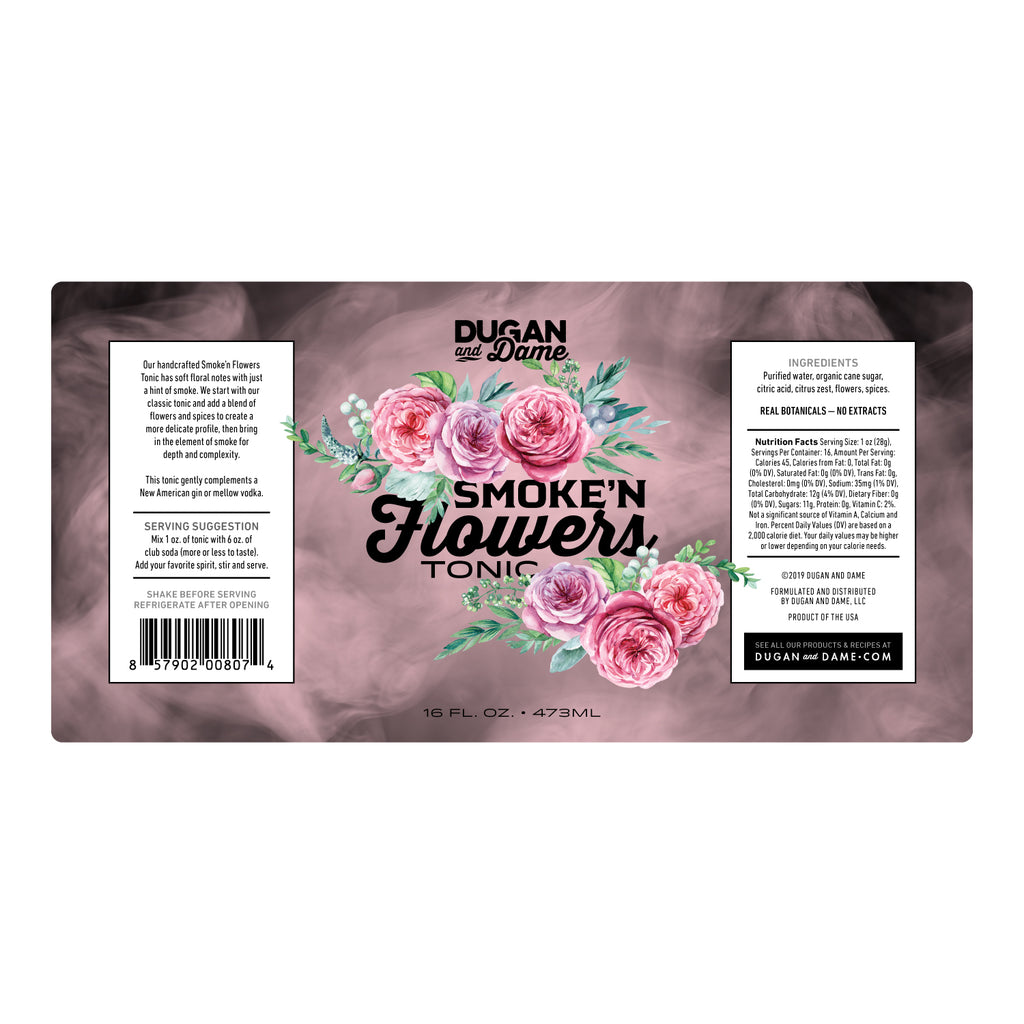 Dugan and Dame Smoke'n Flowers Tonic Label