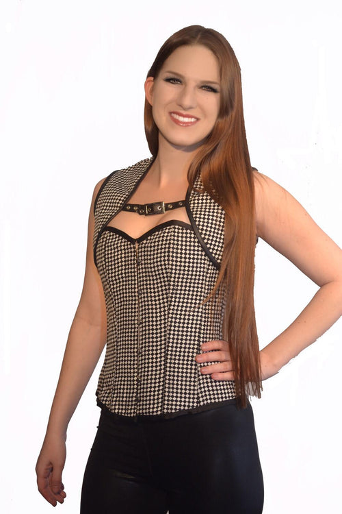 FULL BUST CHECKER PRINT W/ REMOVABLE JACKET