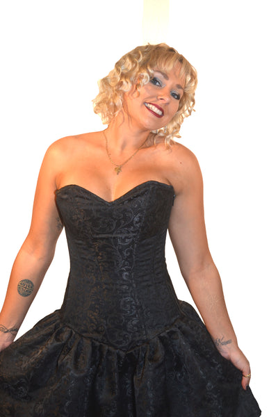 FULL BUST CORSET DRESS - BLACK BROCADE