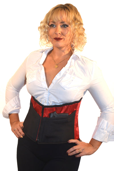 CORSET HOLSTER W/ LACE - BLACK/RED