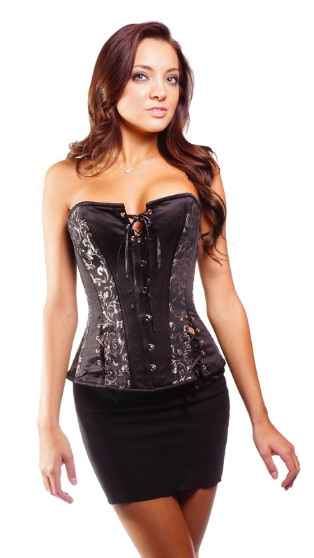 FULL BUST BLACK/GOLD BROCADE CORSET
