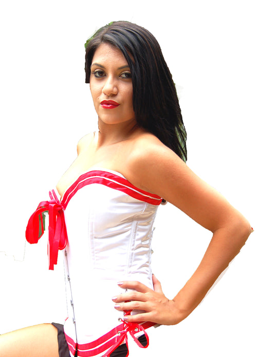 FULL BUST WHITE & RED LEATHER SAILOR AND SKIRT