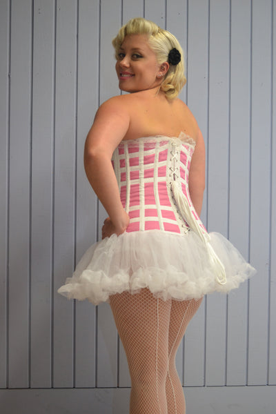 FULL BUST VINTAGE PINK & WHITE CORSET