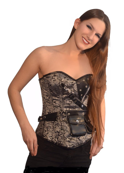 FULL BUST CORSET ADELAIDE SILV/BLK