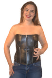 FULL BUST LEATHER FASHION ZIPPER CORSET LACING