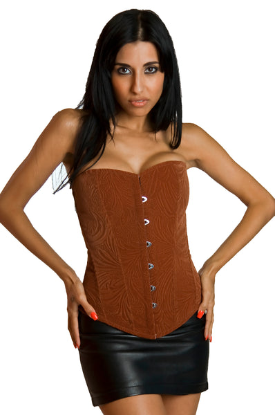 FULL BUST BLACK LEAF PATTERN CORSET
