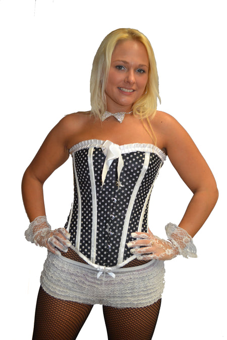 FULL BUST BLACK RED TRIM SAILOR CORSET
