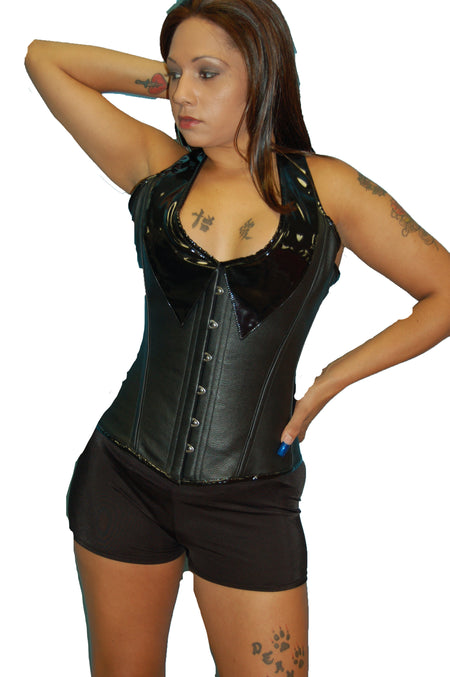 FULL BUST LEATHER FASHION CORSET UNDER BUCKLE