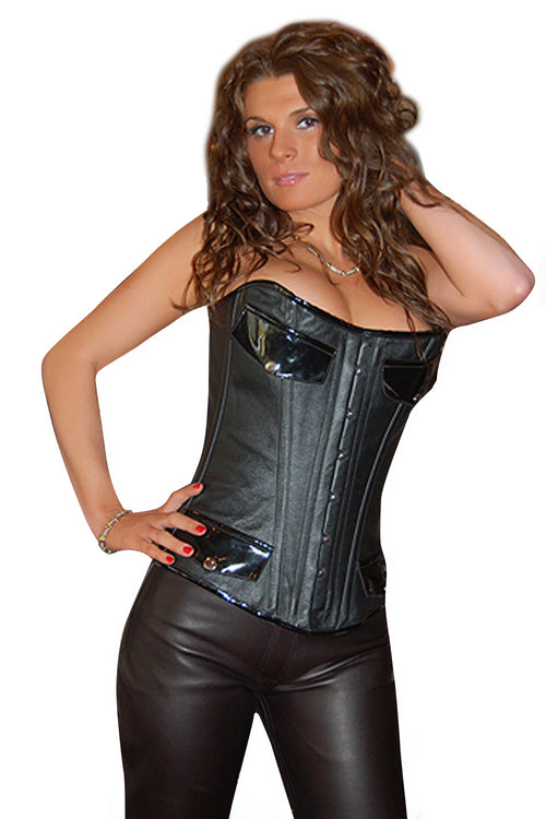 FULL BUST LEATHER MILITARY CORSET
