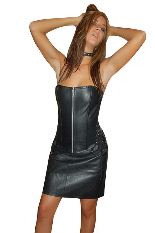 "SKIRT LEATHER 17"" LONG SKIRT"