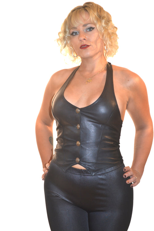 LEATHER HALTER VEST
