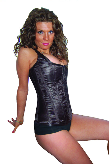 AFTER DARK BLACK SATIN RHINESTONE UNIFORM CORSET