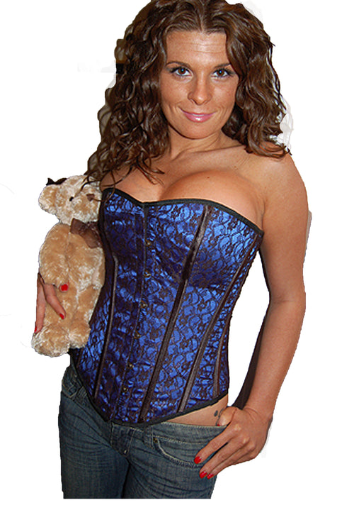 AFTER DARK BLUE LACE OVER FULL BUST CORSET