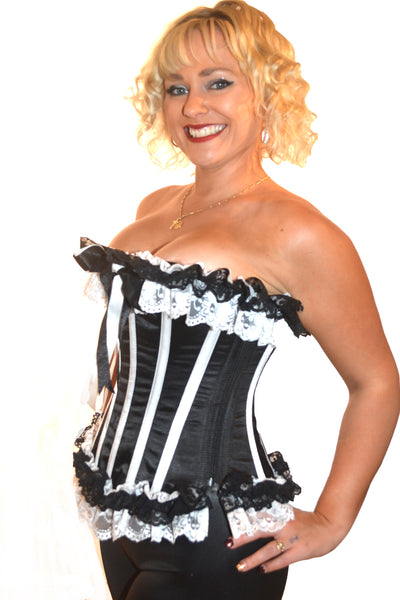 AFTER DARK BLACK/WHITE FULL CORSET