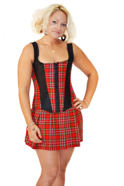 AFTER DARK FULL BUST RED PLAID CORSET