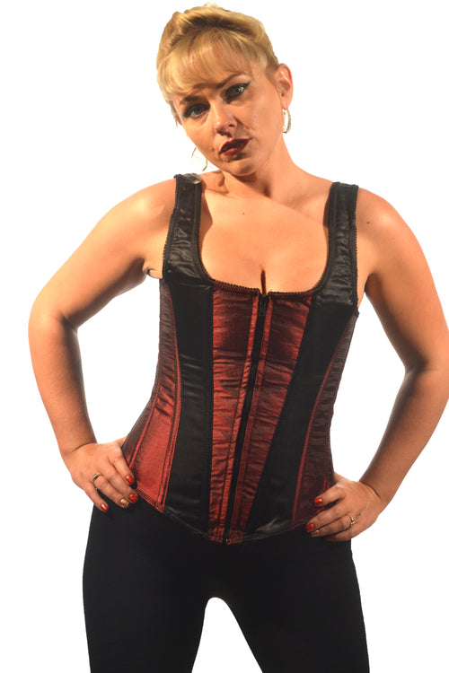 AFTER DARK BURGUNDY AND BLACK UNIFORM CORSET