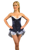 AFTER DARK FULL BUST BUSTLE SKIRT CORSET PINSTRIPE