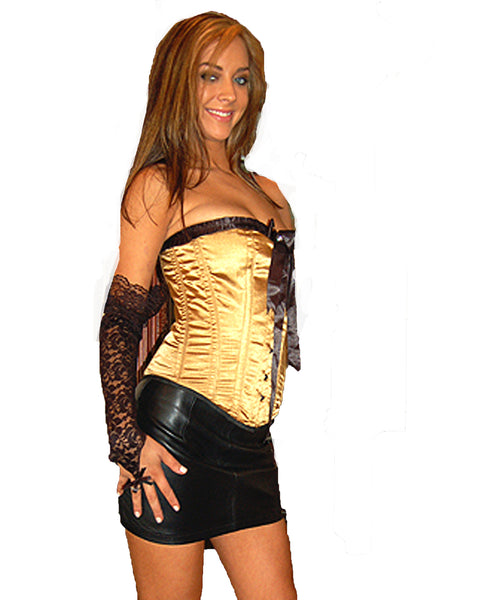 AFTER DARK TAN WITH BLACK TRIM FULL BREAST CORSET