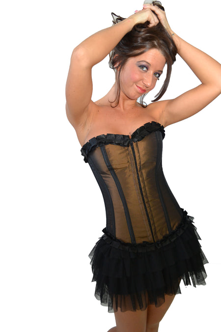 AFTER DARK BLACK FIXED STRAP HALTER CORSET