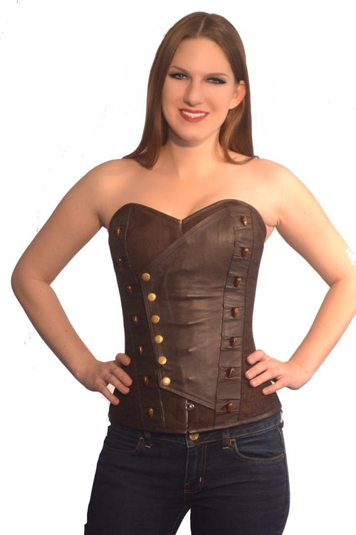 FULL BUST LEATHER/BROCADE CORSET WITH BEADS