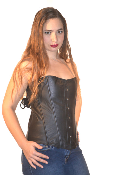 FULL BUST LEATHER ZIPPER FASHION CORSET