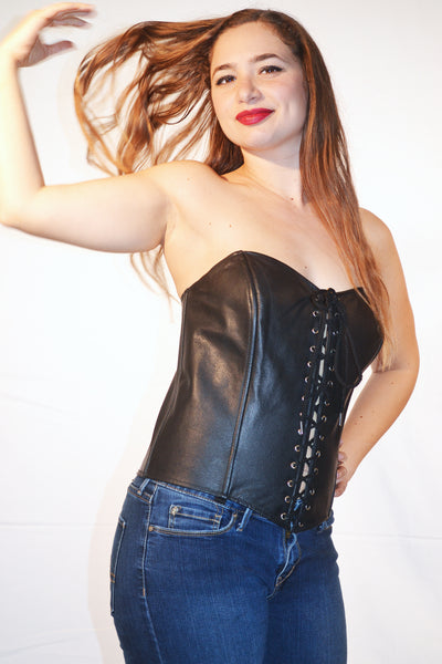 FULL BUST LEATHER FASHION CORSET FRONT LACE