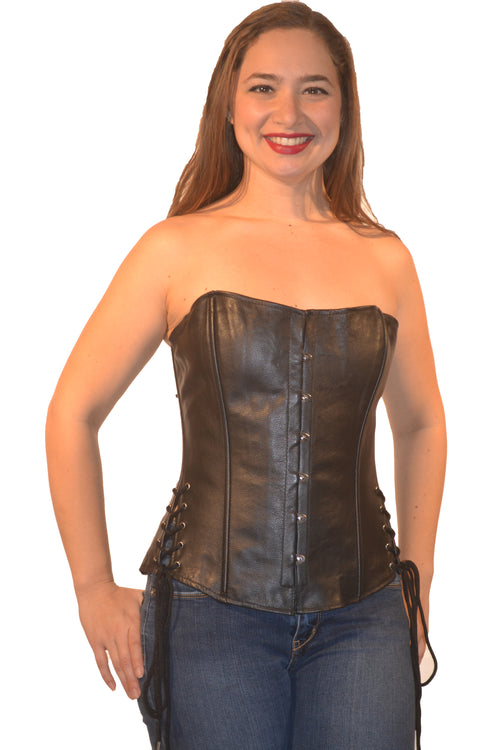 FULL BUST LEATHER FASHION BUSK CORSET LACE ON SIDE
