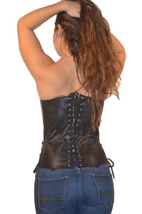 FULL BUST LEATHER FASHION ZIPPER CORSET LACE ON SIDE