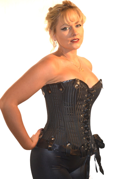 ROMANCE FULL BUST CORSET IRENE BLACK PIN STRIPE