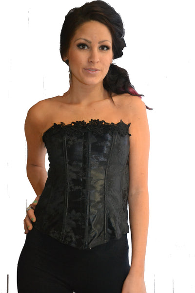 ROMANCE  BLACK BROCADE ZIPPER FULL BUST CORSET