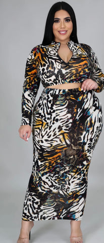 Animal Side Front Open Dress