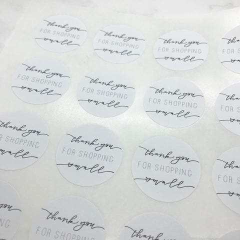"""Thank You For Shopping Small"" Stickers"