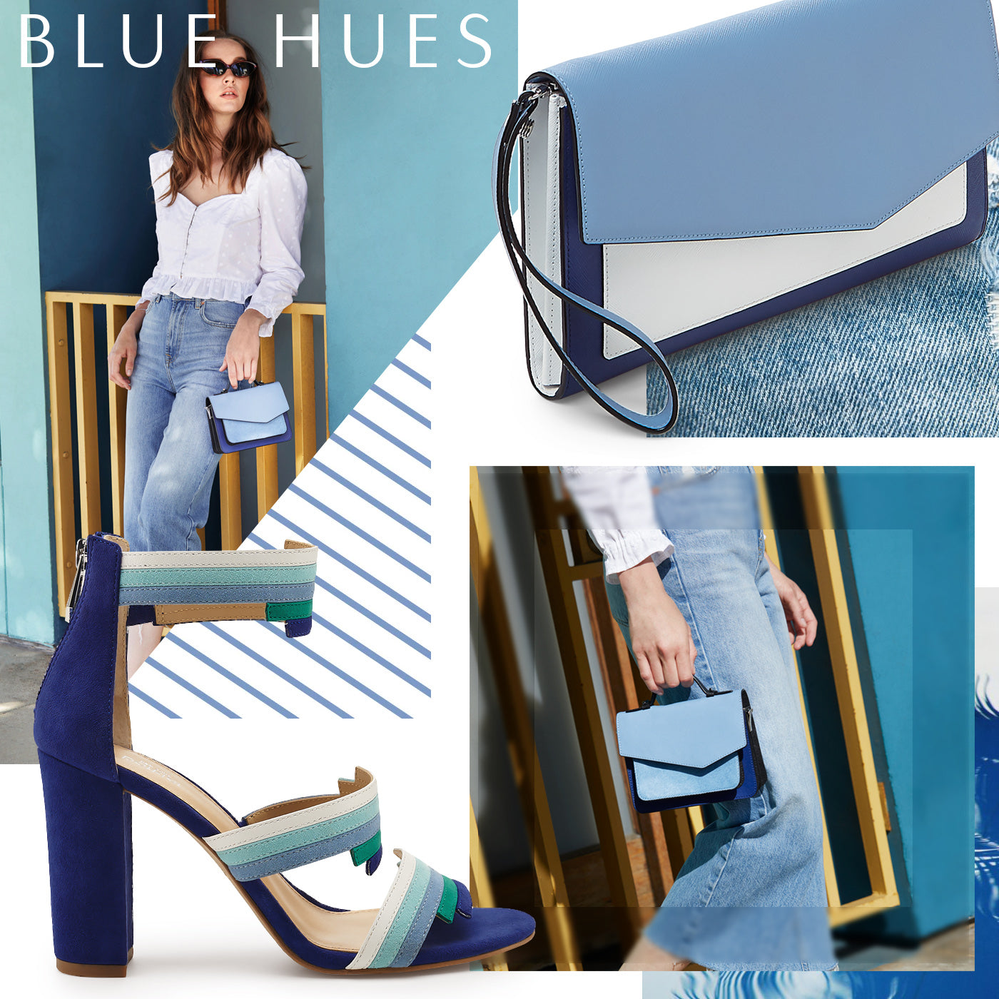 Blue hues botkier or style the colorblock clutch for a night out if youre looking for a little lift in your step strap on the grecia heels in blueprint for the full malvernweather Choice Image