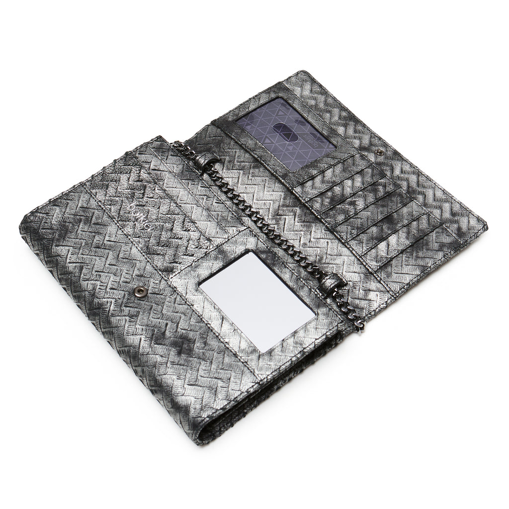17F152A-PRPWT botkier soho chain wallet pewter weave C
