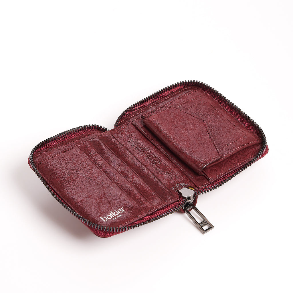 botkier trigger small zip around wallet in bordeaux red