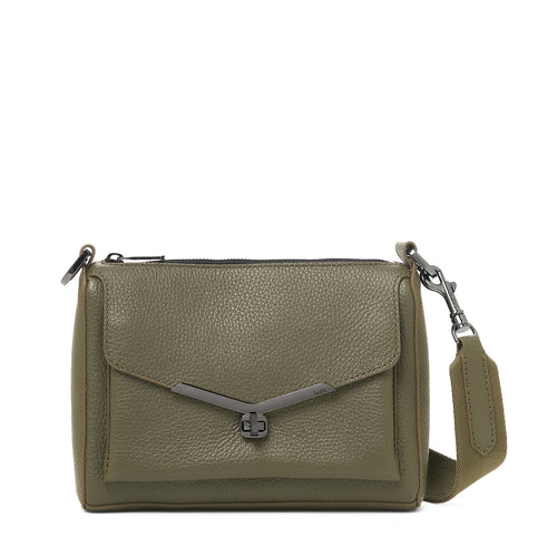 valentina front clap crossbody in army green
