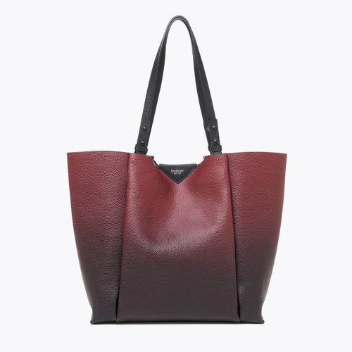 botkier allen top handle bucket in black and cordovan red gradiant leather